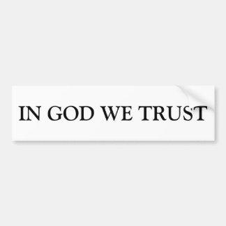 Autocollant De Voiture Dans Dieu nous faisons confiance