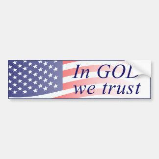 Autocollant De Voiture Dans Dieu nous faisons confiance au drapeau