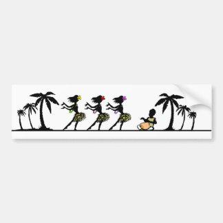 Autocollant De Voiture Danseurs tropicaux de danse polynésienne d'île