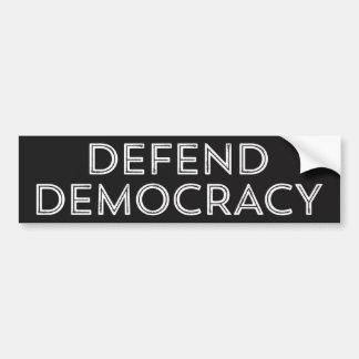 Autocollant De Voiture Défendez l'adhésif pour pare-chocs de démocratie