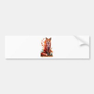 Autocollant De Voiture Dessin d'art animal rouge de Fox et de peinture