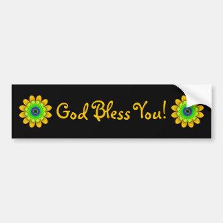 Autocollant De Voiture Dieu jaune de flower power vous bénissent adhésif