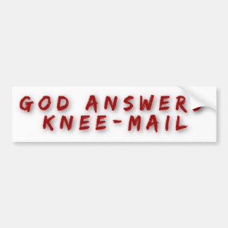 Autocollant De Voiture Dieu répond à religieux drôle de courrier de genou