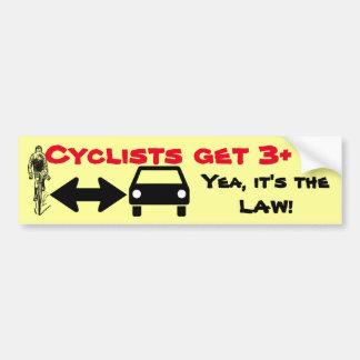 Autocollant De Voiture Donnez à des cyclistes l'Espace-partie la route