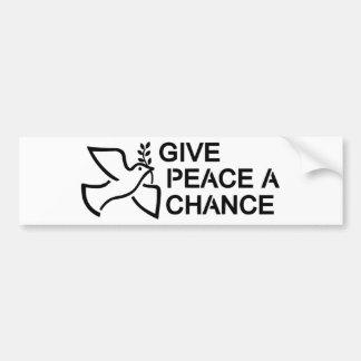 Autocollant De Voiture Donnez à paix une occasion