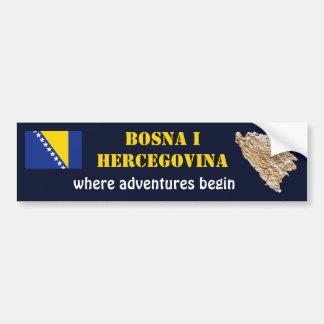 Autocollant De Voiture Drapeau de la Bosnie-Herzégovine + Adhésif pour