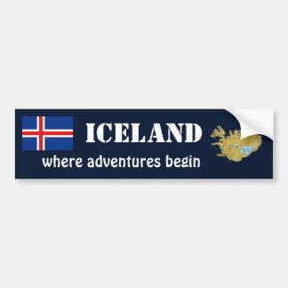Autocollant De Voiture Drapeau de l'Islande + Adhésif pour pare-chocs de
