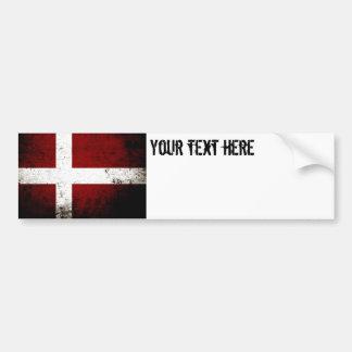 Autocollant De Voiture Drapeau grunge noir du Danemark