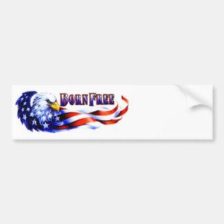 Autocollant De Voiture Eagle chauve libre né et drapeau des Etats-Unis