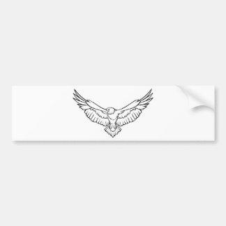Autocollant De Voiture Eagle de montée, volant - noir et blanc