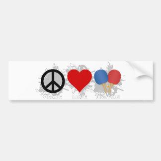 Autocollant De Voiture Emblème de ping-pong d'amour de paix