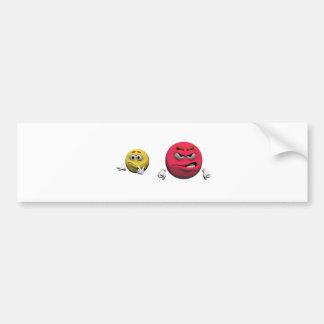 Autocollant De Voiture Émoticône fâchée jaune et rouge ou smiley