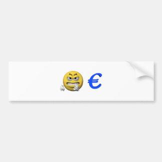 Autocollant De Voiture Émoticône jaune ou smiley et euro
