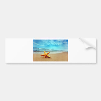 Autocollant De Voiture Étoile de mer sur la plage, ciel bleu, océan
