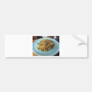 Autocollant De Voiture Fettuccine frais italien avec des champignons de