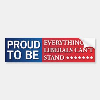 Autocollant De Voiture Fier d'être tout des libéraux ne peut pas se tenir