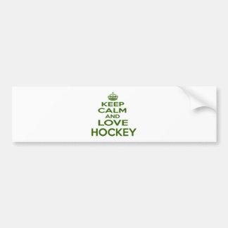 Autocollant De Voiture Gardez le calme et aimez l'hockey