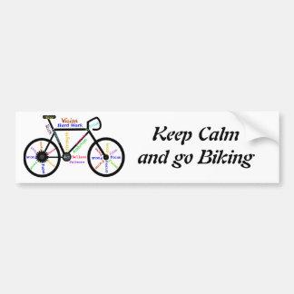 Autocollant De Voiture Gardez le calme et allez faire du vélo, avec des