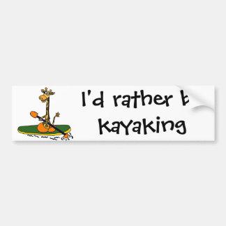 Autocollant De Voiture Girafe drôle dans le kayak
