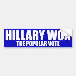 Autocollant De Voiture Hillary a gagné l'adhésif pour pare-chocs