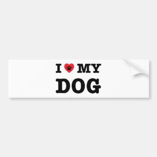 Autocollant De Voiture I coeur mon chien