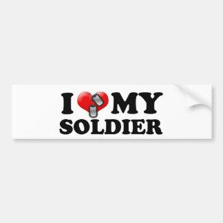 Autocollant De Voiture I (coeur) mon soldat