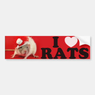 Autocollant De Voiture I love Rats (in hat)