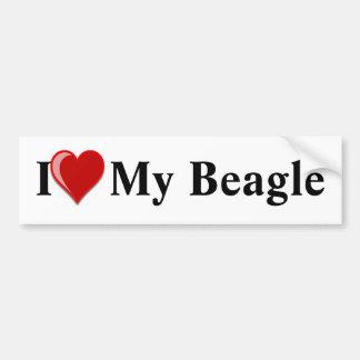 Autocollant De Voiture J'aime (coeur) mon chien de beagle