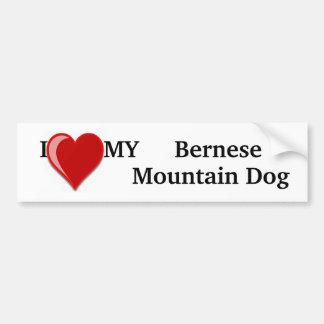 Autocollant De Voiture J'aime (coeur) mon chien de montagne de Bernese