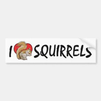 Autocollant De Voiture J'aime des écureuils de coeur - amant d'écureuil