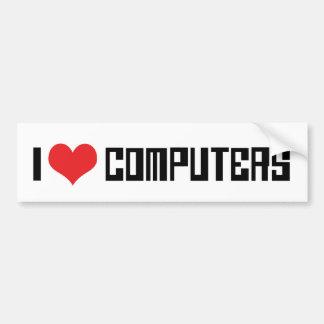 Autocollant De Voiture J'aime des ordinateurs de coeur - amant de