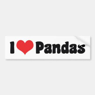 Autocollant De Voiture J'aime des pandas de coeur - amant de panda