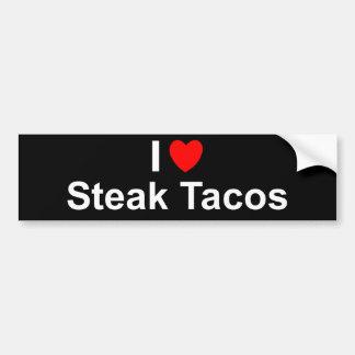 Autocollant De Voiture J'aime des tacos de bifteck de coeur