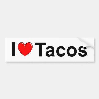 Autocollant De Voiture J'aime des tacos de coeur