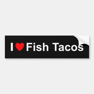 Autocollant De Voiture J'aime des tacos de poissons de coeur