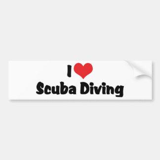 Autocollant De Voiture J'aime la plongée à l'air de coeur - amant de mer