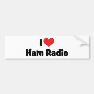Autocollant De Voiture J'aime l'amant de radio de radioamateur de jambon