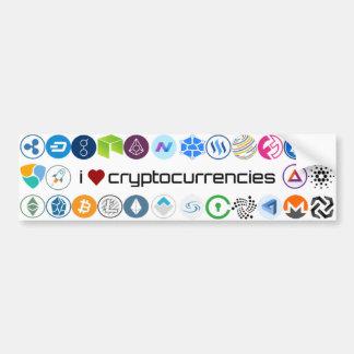 Autocollant De Voiture J'aime l'autocollant de cryptocurrencies