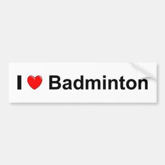 Autocollant De Voiture J'aime le badminton de coeur