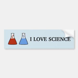 Autocollant De Voiture J'aime le becher rouge et bleu de la Science avec