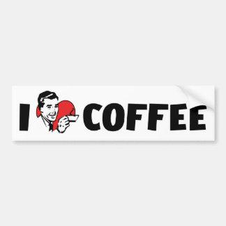 Autocollant De Voiture J'aime le café de coeur - amant de caféine de Java