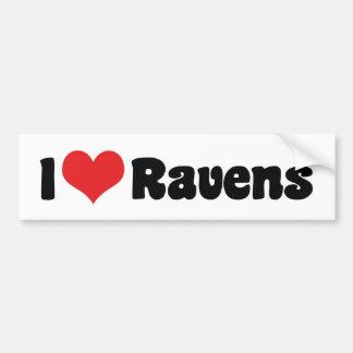 Autocollant De Voiture J'aime le coeur Ravens - amant d'oiseau