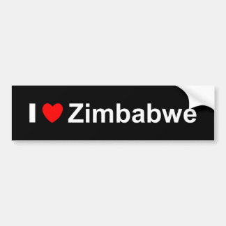 Autocollant De Voiture J'aime le coeur Zimbabwe