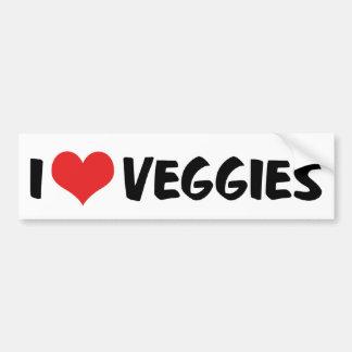 Autocollant De Voiture J'aime le légume de coeur - amant végétalien de