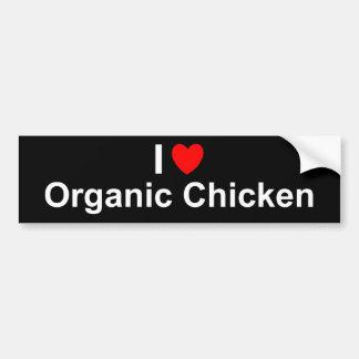 Autocollant De Voiture J'aime le poulet organique de coeur