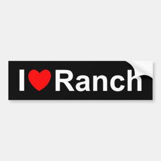 Autocollant De Voiture J'aime le ranch de coeur