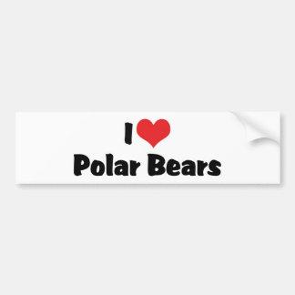 Autocollant De Voiture J'aime les ours blancs de coeur