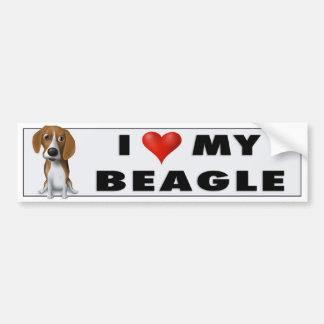 Autocollant De Voiture J'aime mon beagle BEA1