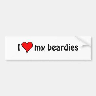 Autocollant De Voiture J'aime mon Beardies