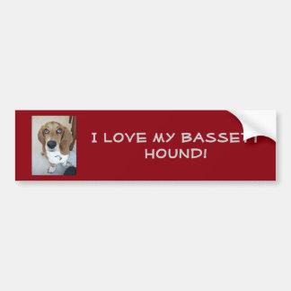 Autocollant De Voiture J'aime mon chien de basset-hound !  Adhésif pour